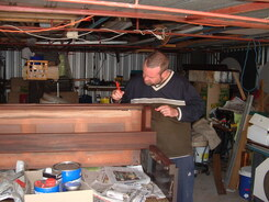 Upright piano cabinet refinishing underway